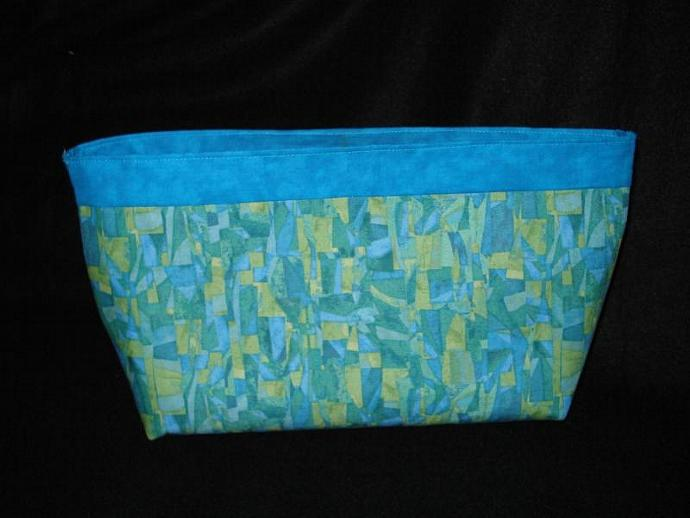 Turquoise Tonal Fabric Clutch