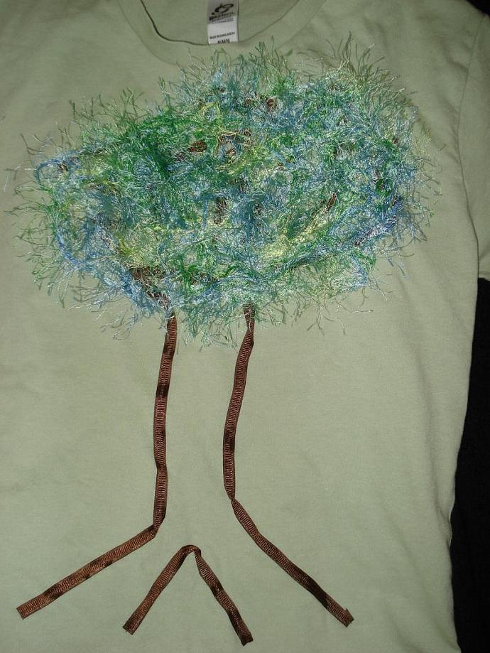 Whimsical Tree Green T-Shirt Youth Medium