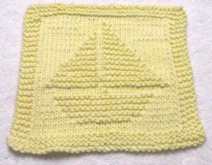 Knitting Cloth Pattern - SAILBOAT - PDF