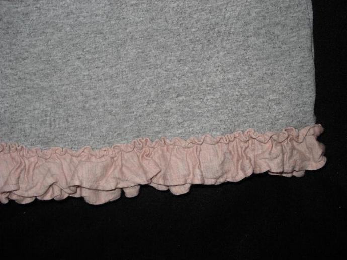 Grey T-Shirt with Pink Ruffle & Rosettes Youth Medium