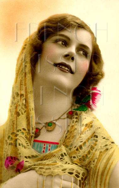 SUNSHINE Lady Bronze Golden Yellows ART Deco French postcard DIGITAL Scan