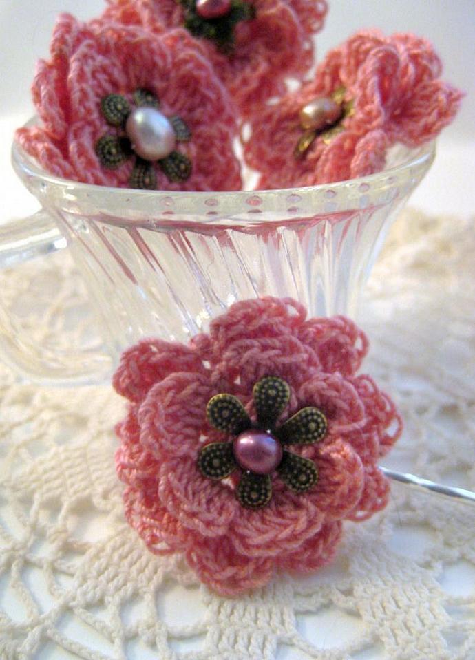 Romance Rose Hair Pin in Pink