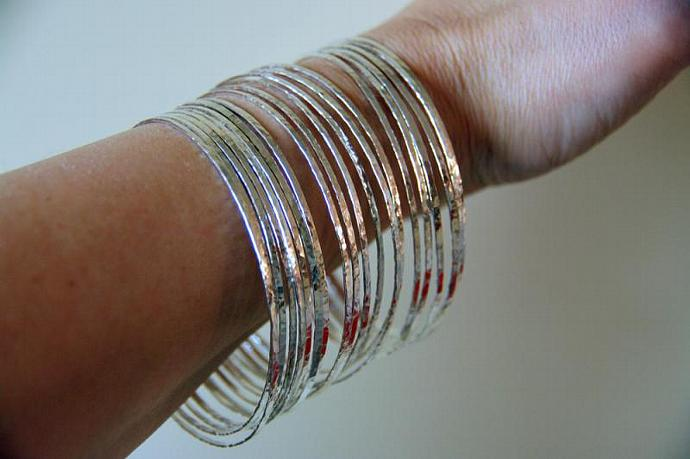 7 Thin Handmade, Hammered Sterling Silver Stack Bangle Bracelets-Handmade