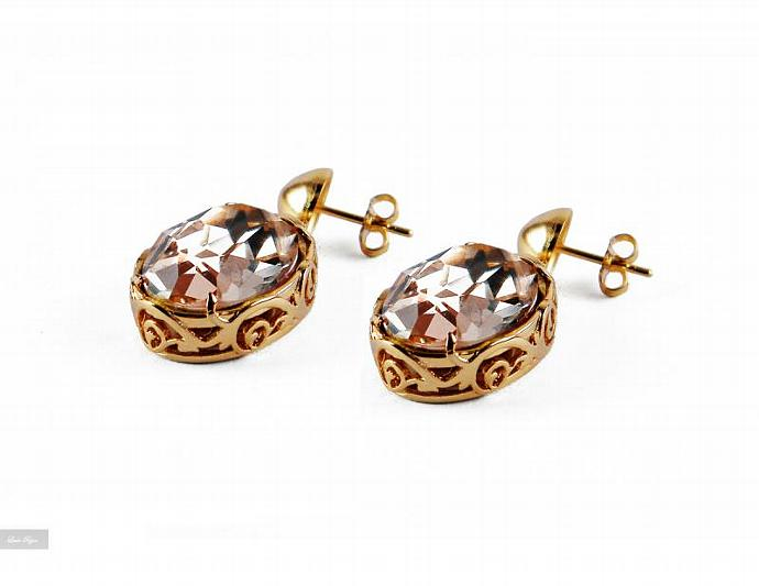 Galya Earrings - Peach  Swarovski Crystal Gold Plated