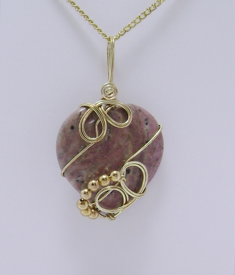 Wire-Wrapped Rhodonite Gemstone Pendant