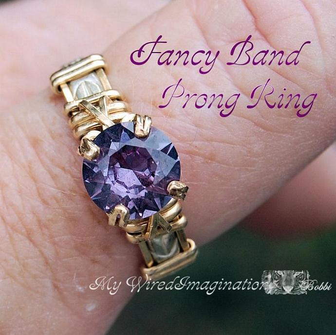 Jewelry Tutorial -  Wire Wrapped Fancy Band Prong Ring - PDF File
