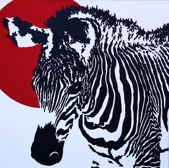 Z is for Zebra - Red; color relief print