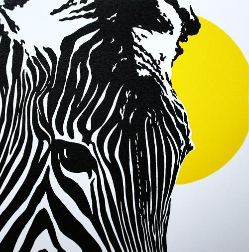 Z is for Zebra - Yellow; color relief print