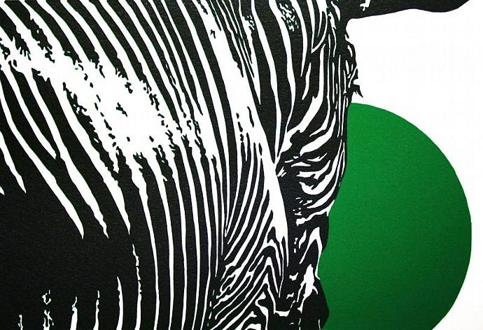 Z is for Zebra - Green; color relief print