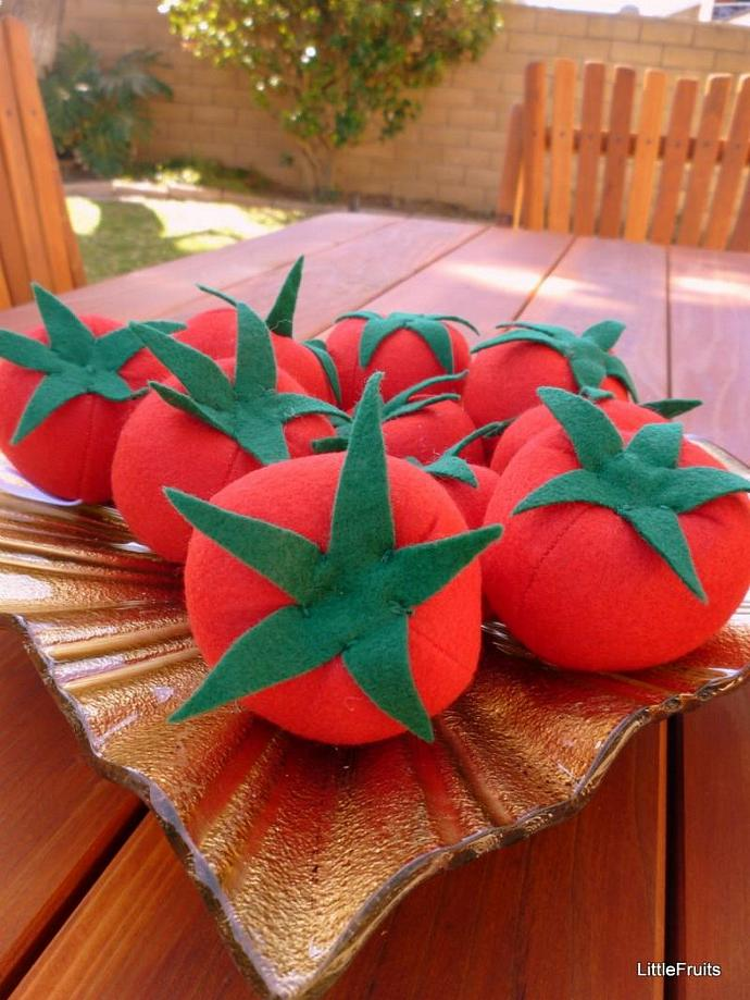 Felt Tomatoes - Handcrafted Toy Pretend Play Food or Home Decor - 2 Pc.