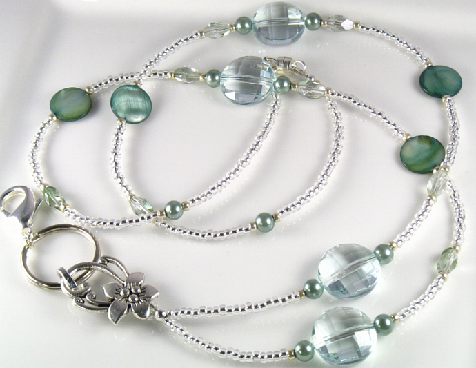 SAGE CRYSTALS Glass and Pearls Beaded Lanyard ID B
