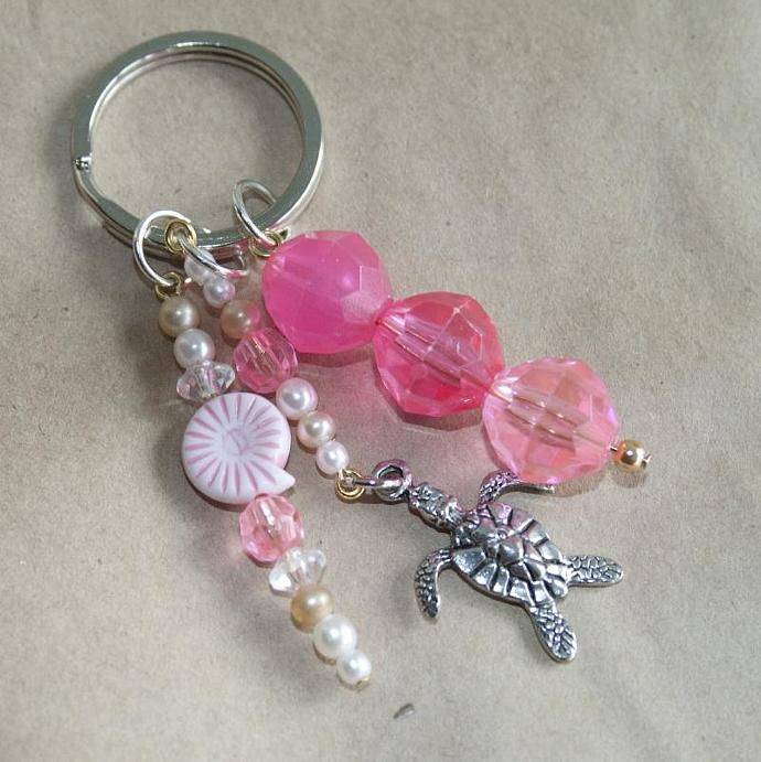 Pink Sea Turtle keychain