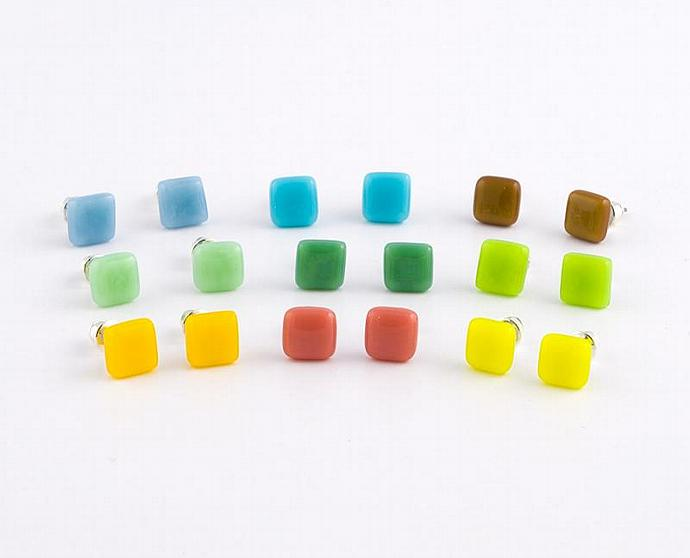 Little Squares Fused Glass Earrings