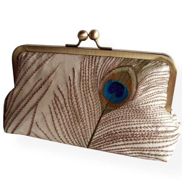 Peacock Feathers Embroidered Silk Clutch in Ivory