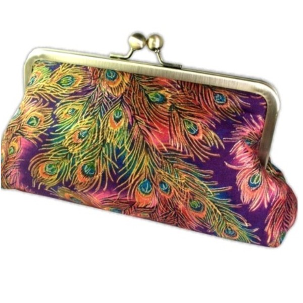 Peacock Feathers Clutch Purse with Silk Lining