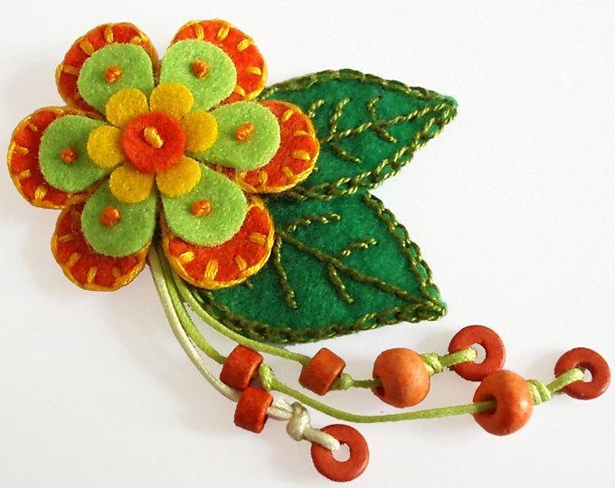 Orange Felt  Flower Brooch with Decorative Embroidery