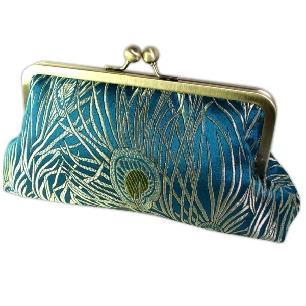 Silk Brocade Peacock Feathers Luxury Clutch Bag