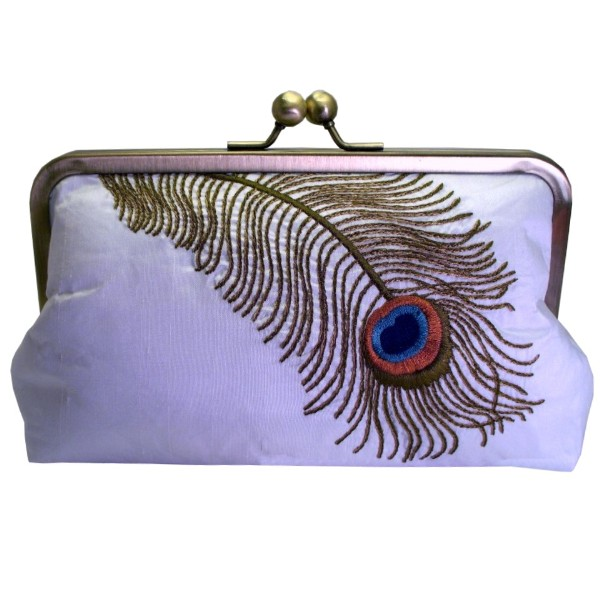 Peacock Feather Embroidered Silk Clutch Purse