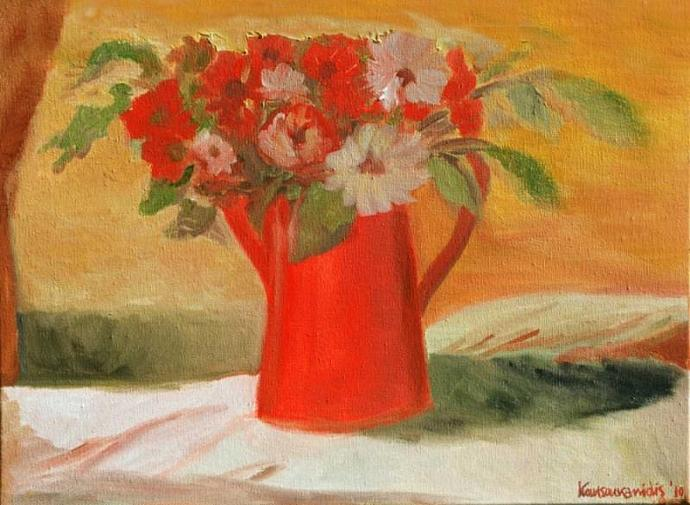 Flowers and Red Pot
