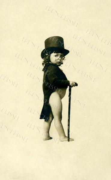 TUXEDO Tot Victorian Antique postcard Digital Scan Graduation Idea