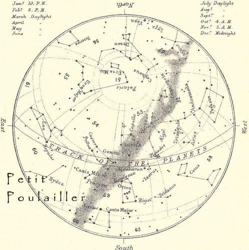 December Midnight Sky, Stars, Constellations 1892 Victorian Astronomy Engraving,