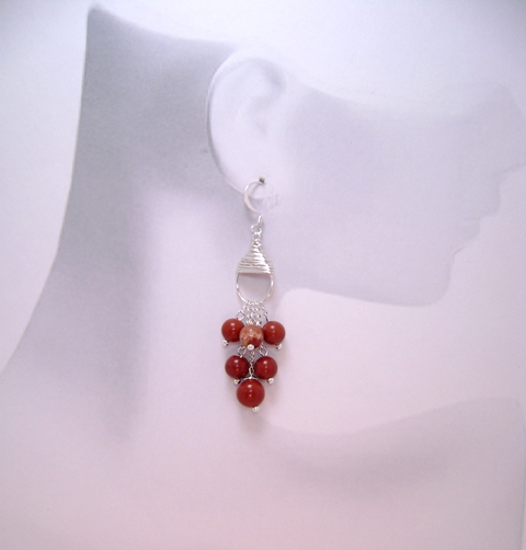 Red Jasper Demi-fall Earrings
