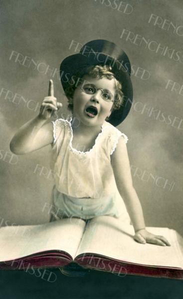 No. 1 in My Book Top Hat Child Victorian Antique postcard Digital Scan FATHER'S