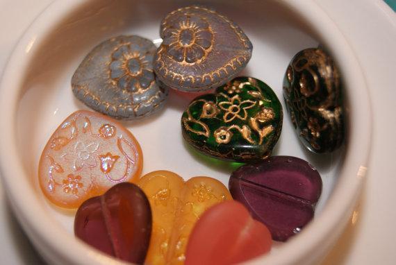 5 pairs of Heart Beads