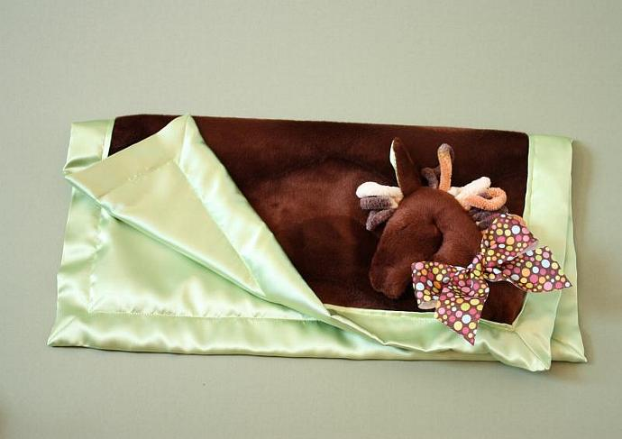 Brown Horse with Chinchilla Mane Lovey Blanket, Satin, Baby Blanket, Stuffed