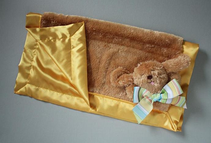 Shaggy Puppy Dog Lovey Blanket, Satin, Baby Blanket, Stuffed Animal, Baby Toy -