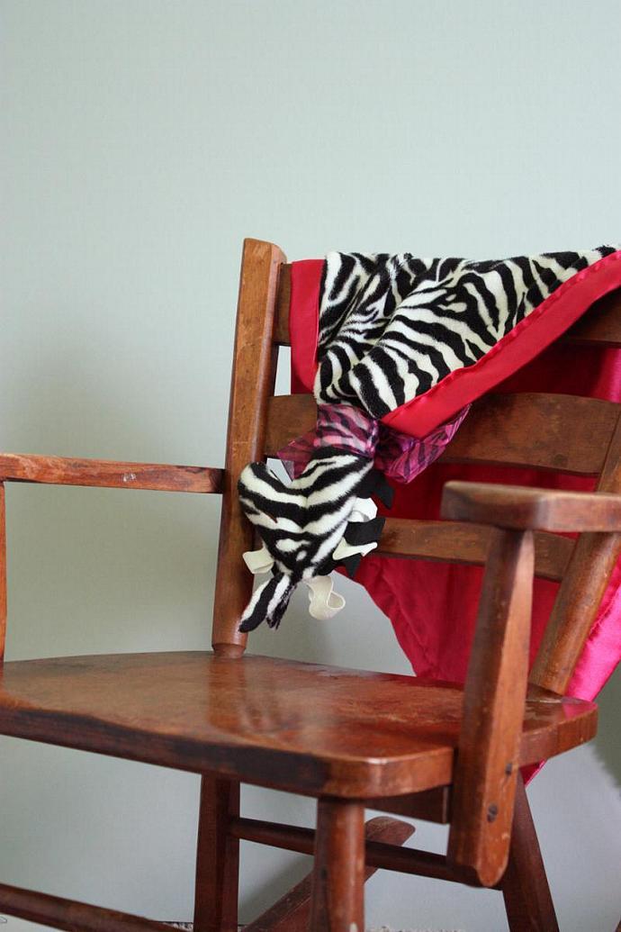 Zebra Lovey Blanket, Satin, Baby Blanket, Stuffed Animal, Baby Toy - Customize