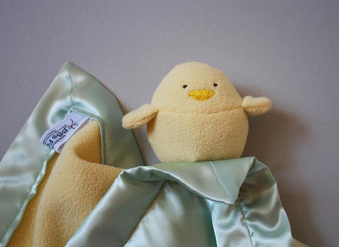Yellow Bird or Chick Lovey Blanket, Satin, Baby Blanket, Stuffed Animal, Baby