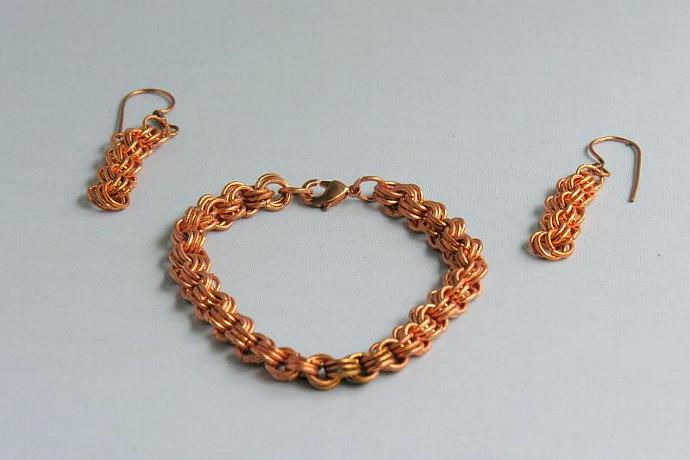 Handmade Copper Chain Maille Bracelet & Earrings Set