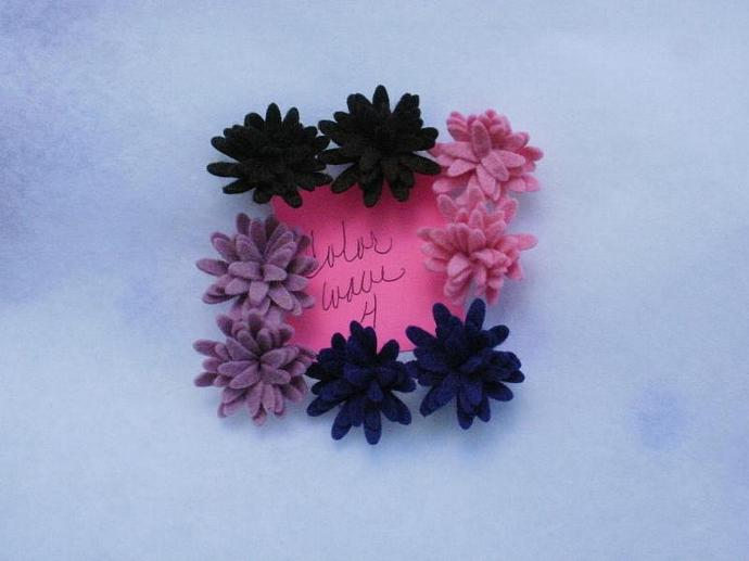Wool Felt Daisies - 8 - Color Wave 4