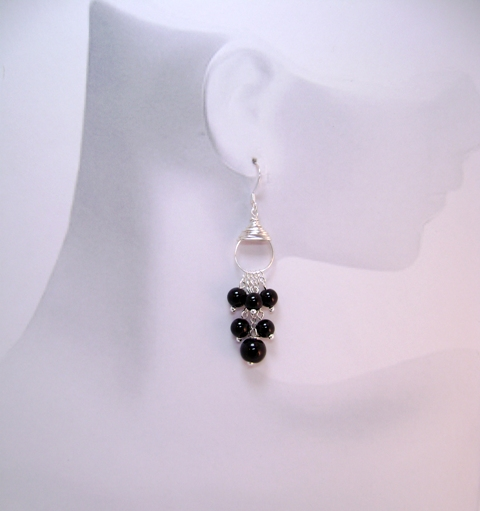 Black Obsidian Demi-fall Earrings