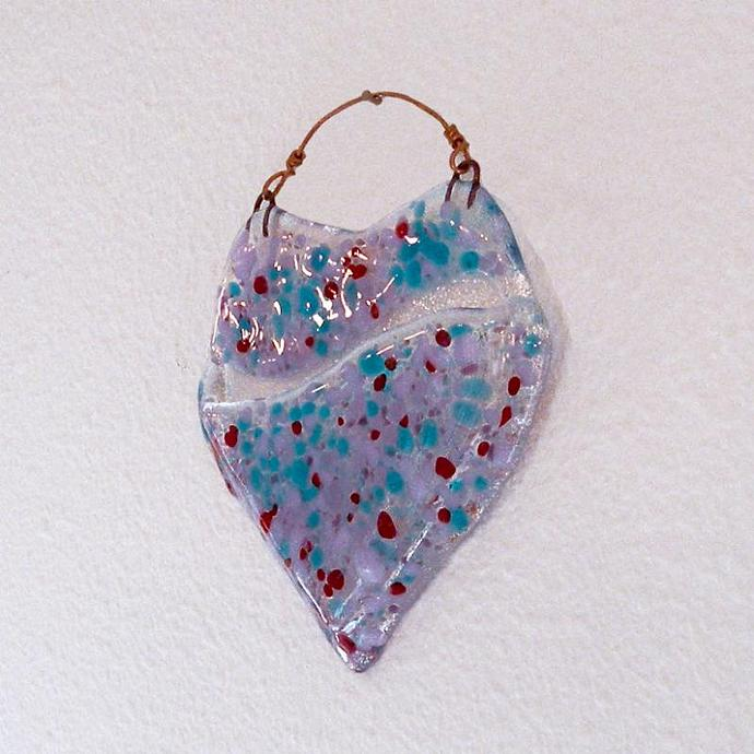 Heart Shaped Colorful Hand Crafted Art Glass Wall Pocket Vase