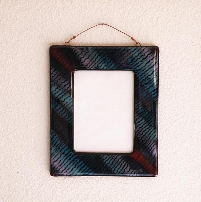 Small Art Glass Mirror Framed with Purples Blues and Red