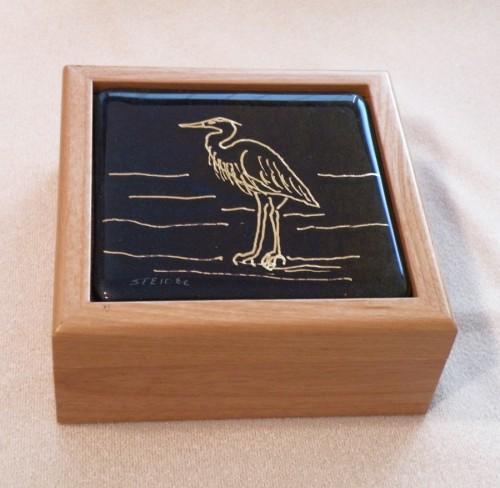 Golden Heron on Black Iridescent Glass Tile Inserted into an Alderwood Box