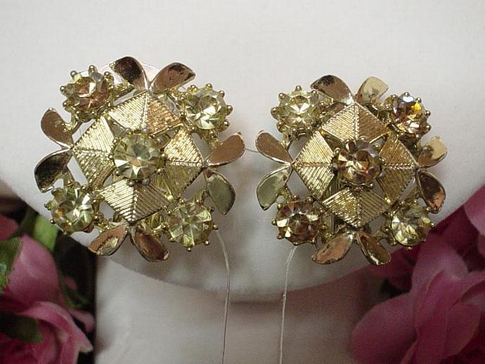 Vintage Gold Aurora Borealis Earrings