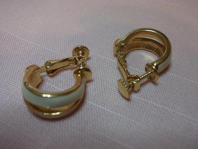 Vintage Napier White  Enamel Earrings