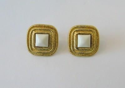 Vintage Gold and White Square Fashion Clip On Earrings