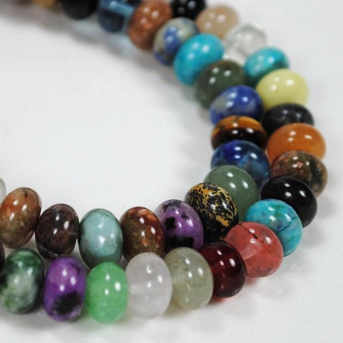 Semi-precious Gemstone, Stone 6x8mm Rondelle Beads - 66 beads