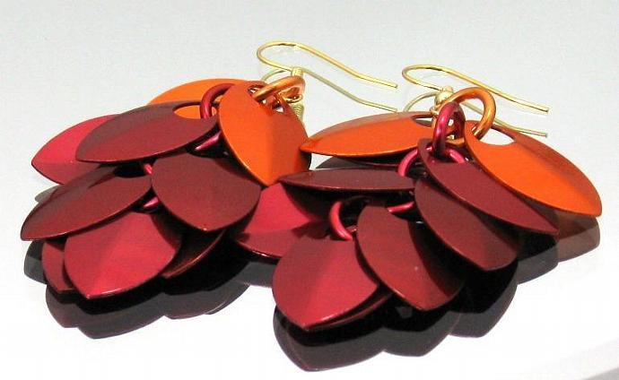 Fire Rain Chainmaille Earrings