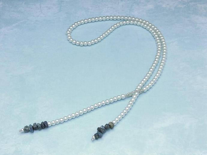 Handmade Pearl Lariat with Gemstone Chips