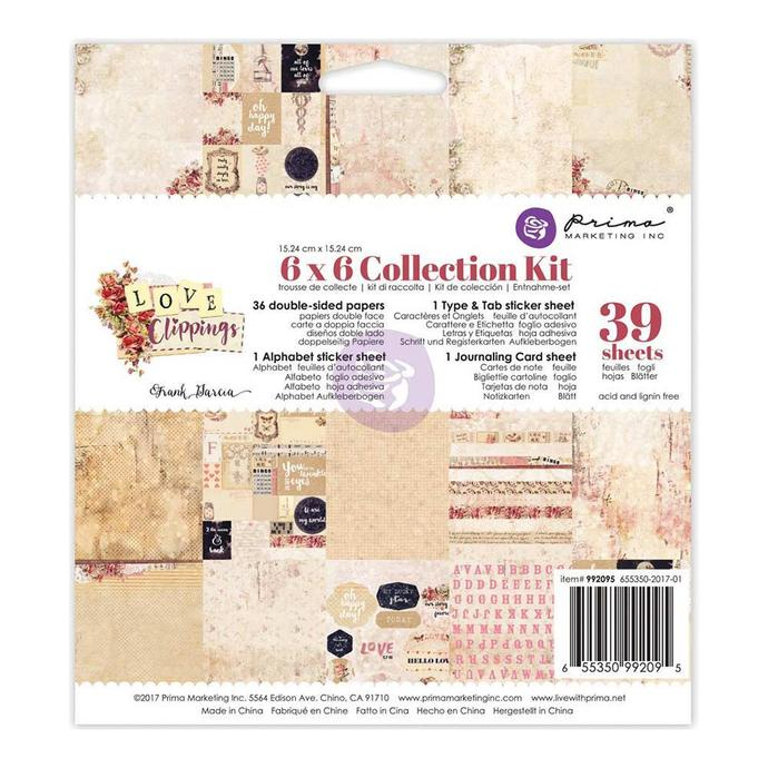 """Prima Marketing Love Clippings Collection Kit 6""""X6"""""""