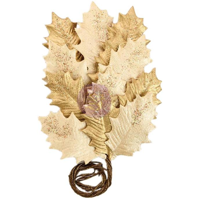 Prima Marketing Gold Glittered Leaf Stems