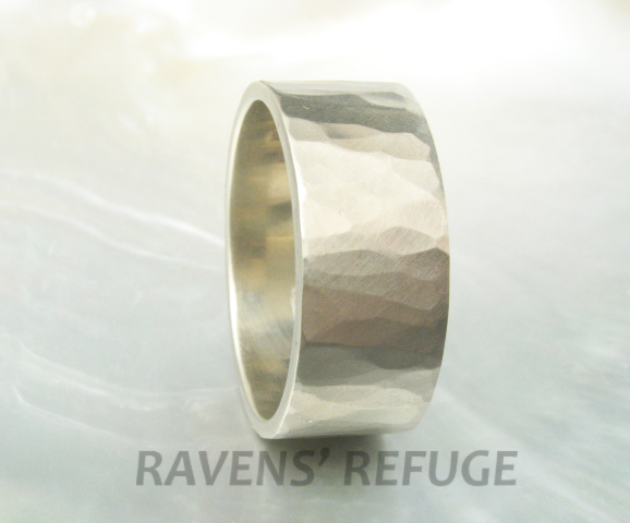 10mm white gold band -- wide wedding band with hammered finish