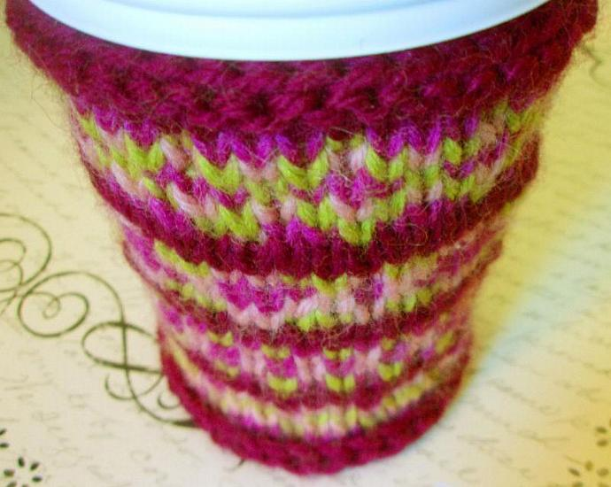Fair Isle Cheerful Coffee Cup Cozy