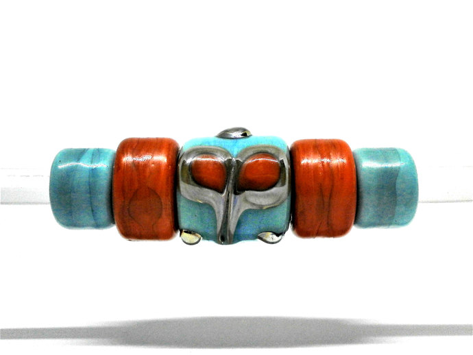 A Little Focal Barrel Lampwork Bead from my Sari Silk Series