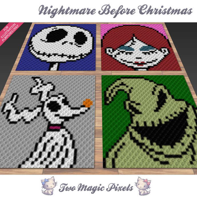 Nightmare Before Christmas crochet blanket by TwoMagicPixels on Zibbet